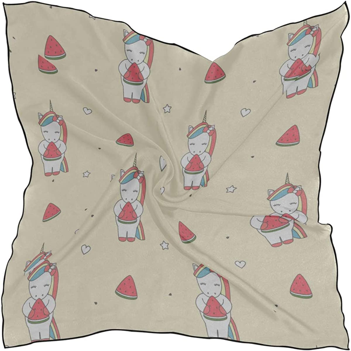 Soft Polyester Silk Small Square Scarf Fashion Print Children Friend Unicorn Down Scarf Scarfs For Girls Hair Scarf For Sleeping Multiple Ways Of Wearing Daily Decor
