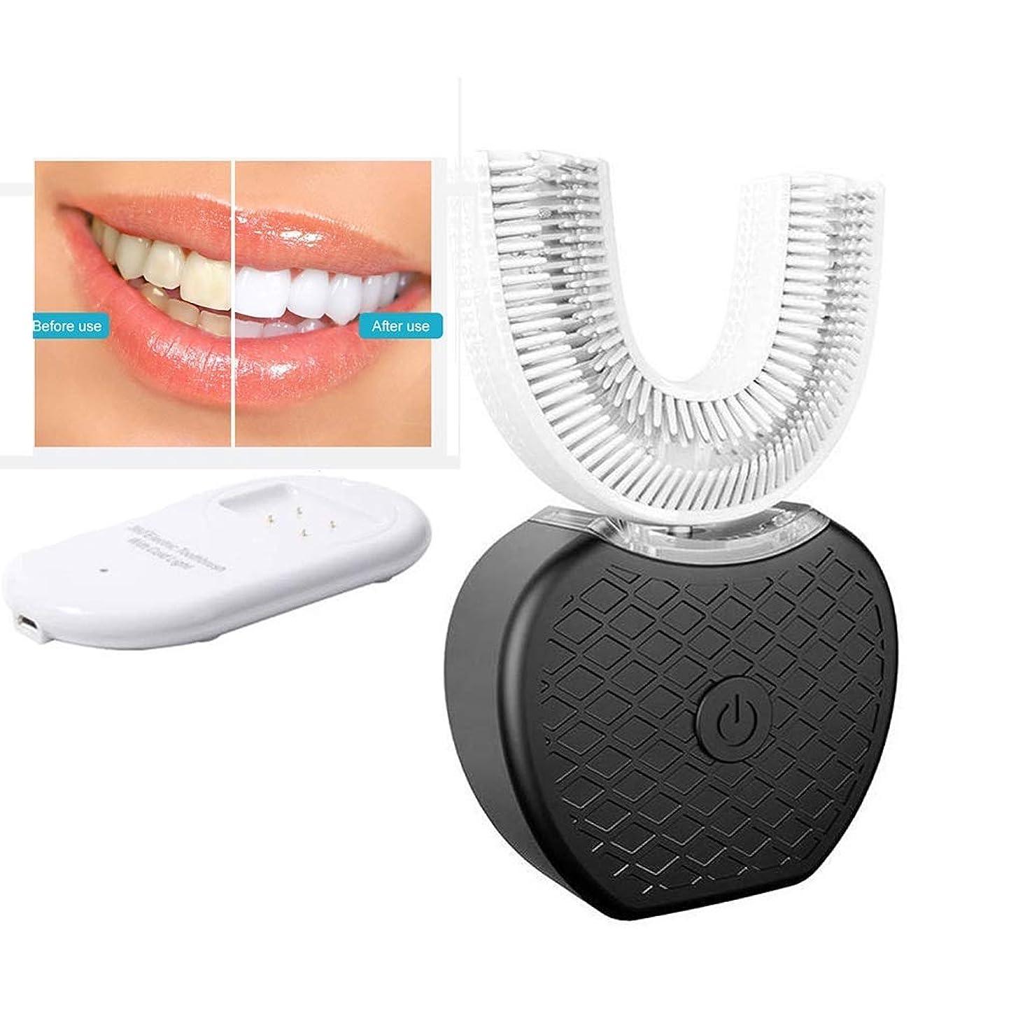 大騒ぎ政治ラジカル電動歯ブラシ、充電式電動歯ブラシIPX7防水歯のホワイトニングセットで360°自動歯ブラシホワイトニング電動歯ブラシ大人をU字型 (Color : Black)