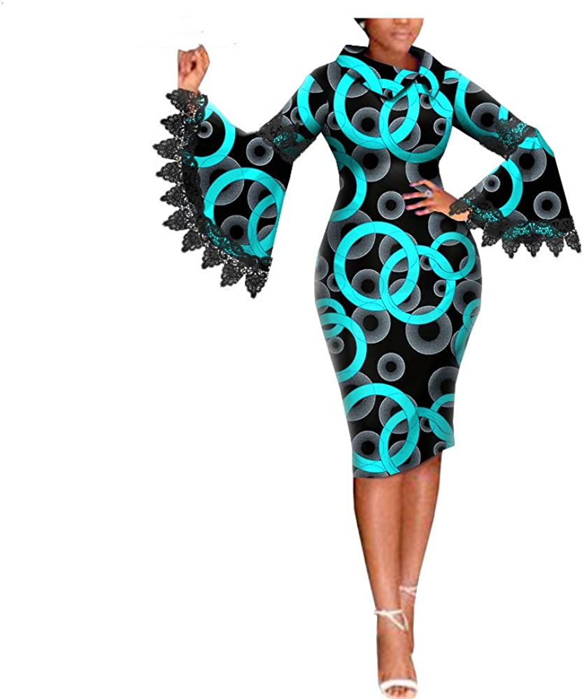 Afripride African Ankara Cotton Dresses for Women Flare Sleeves Knee Length Women Pencil Dress with Lace 2025015