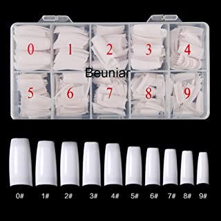Beuniar Acrylic Nail Tips White 500Pcs French Artificial False Tip for Manicure Nails Art Salons & Home DIY