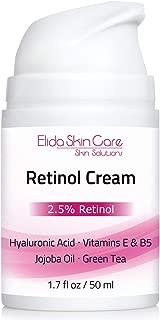 Retinol Cream – Best Retinol Moisturizer 2.5% with Hyaluronic Acid, Vitamin E & B5, Jojoba Oil, Green Tea – Best Anti Wrinkle Treatment 1.7 Oz. – by Elida Skin Care