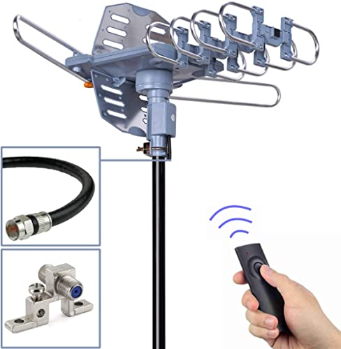 PBD Outdoor Digital Amplified HDTV Antenna, 150 Mile Motorized 360 Degree Rotation, Wireless Remote Control, 59FT RG6 Coax Cable, Coaxial Grounding Block, UHF VHF 1080P 4K, Support 2 TVs product image
