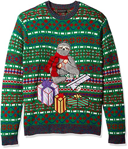 Blizzard Bay Men's Ugly Christmas Sweater Sloths, Green/Grey, XX-Large