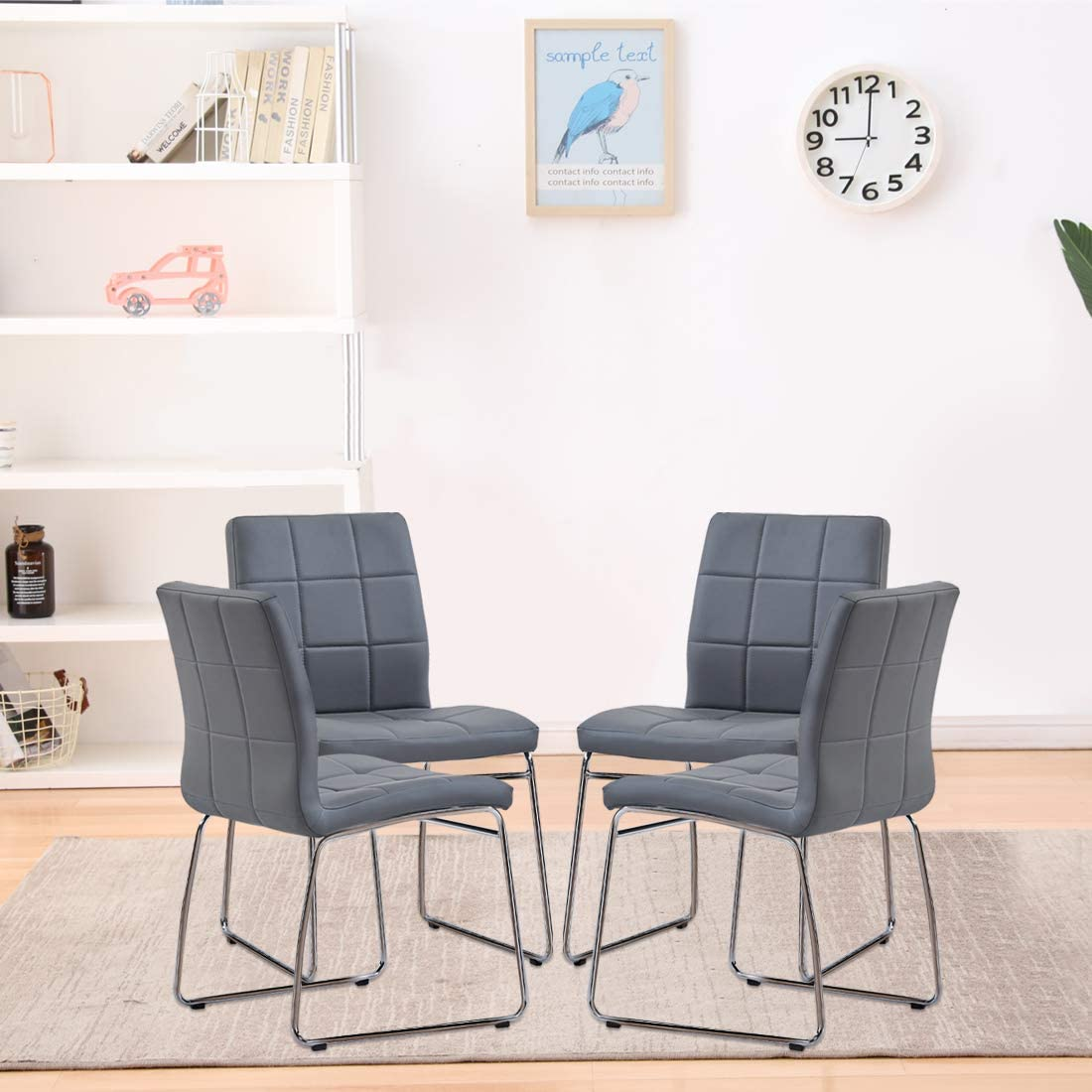 Modern Dining Room Chairs Set of 2 Dining Chairs for Living Room Lounge Waiting Room Kitchen Chairs with Faux Leather Soft Padded Seat Back in Checkered Pattern and Sled Chrome Legs 2 Black Chairs