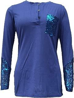 Jojckmen Women Sequin V-Neck Long Sleeve Button Casual T-Shirt Tee Pocket Top Blouse