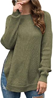 Womens Crew Neck Long Sleeve Knitted Pullover Blouse Sweater Side Split Top