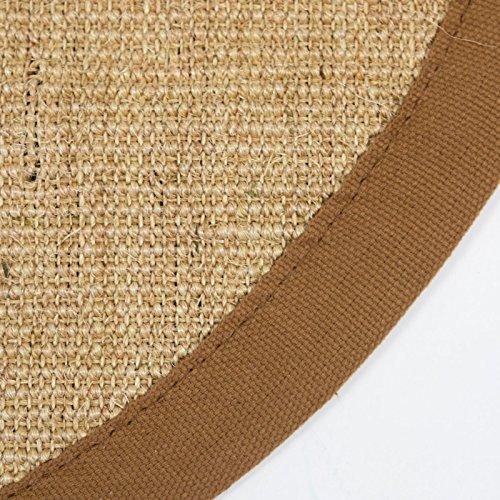 Homestyle4u 1382, Sisalteppich Braun Rund, 100% Sisal Teppich, Bordürenteppich Naturfaser, 180 cm