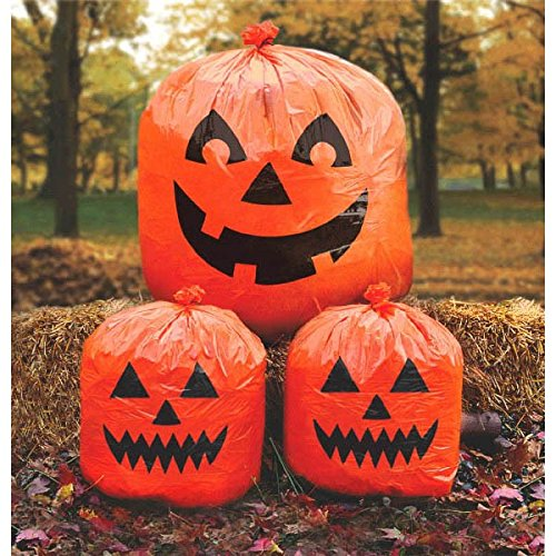 Amscan Pumpkin Lawn Bags, Halloween Decoration 30