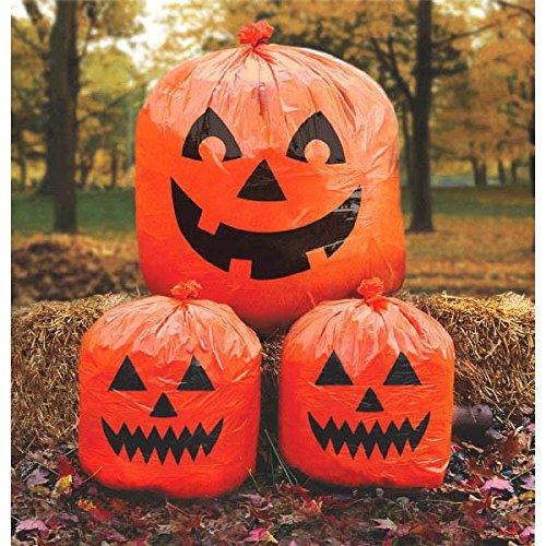 Amscan Pumpkin Lawn Bags, Halloween Decoration 30' x 24', Orange