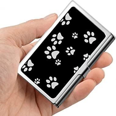 White Puppy Dog Animal Paw Print Modern Business Card Holder Business Card Wallet Case Professional Metal 3.81x 2.7 X 0.29 In