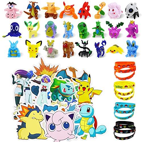 Lunriwis figuras pokemon Monster,24 mini figuras pokemon pikachu 12 Pulsera de Silicona, 50 pegatinas pokemon,