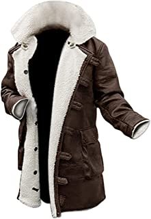 Blingsoul Shearling Leather Coats for Men - Swedish Bomber Leather Jacket Fur Coat