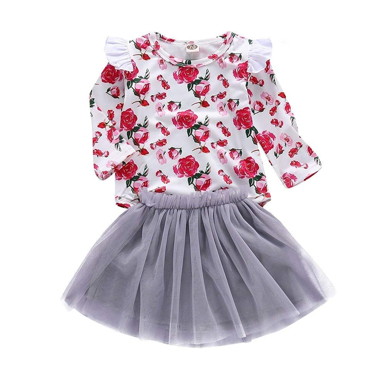 ANKECHANG ベビー服 tシャツ 女の子 長袖 スカート 上下セット メッシュ 春秋 花柄 フリル チュールスカート 普段着