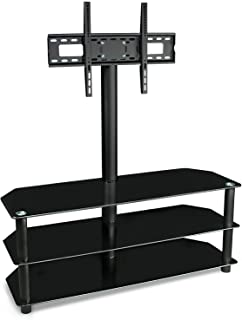 Mount-it! TV Stand with Mount and Glass Shelves for Flat Panel Televisions and Audio Video Components, 3 Tier Tempered Glass Shelves, Up to VESA 600x400, Fits 50, 55, 60, 65, 70 Inch, Black