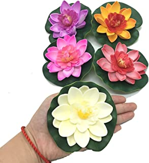Pomeat 5 Pcs Floating Artificial Lotus Flowers Decor Floating Pond Decor Water Lily Home Decoration