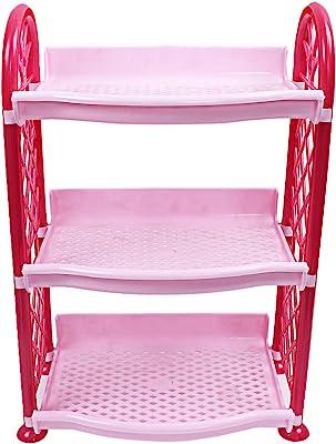 Kuber Industries Plastic 3 Layer Multipurpose Storage Rack (Pink) -CTLTC12583