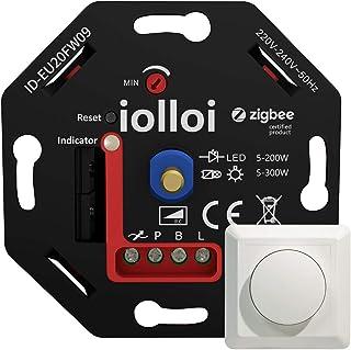 iolloi Zigbee Dimmer 5-200 W, 230 V fase-sectie draaidimmer voor dimbare led- en halogeenlampen, compatibel met Philips Hu...