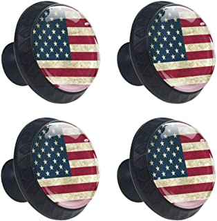 4 Pcs American Flag Cabinet Knobs Dresser Drawer Pulls Round Glass Cupboard Wardrobe Furniture Handles with Screws for Home Office 35mm (1-3/8 Inches)