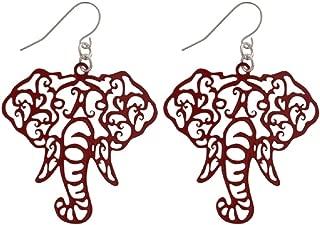 Crimson Elephant Head Filigree Fishhook Earrings