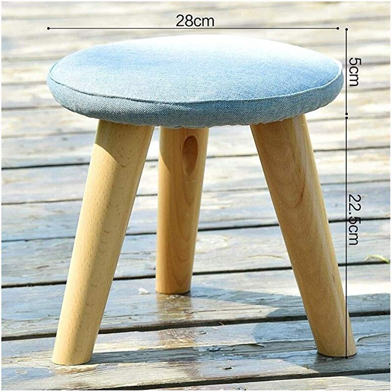 Carl Artbay Wooden Footstool Blue Solid Wood Change The Shoe Stool Cloth Round Stool Three Legged Stool Home