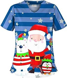 Women's Christmas Glitter Print Scrub Top by Uniform Advantage (X-Large)
