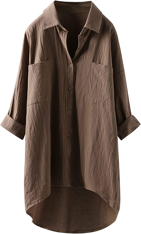 Women's Casual Linen Blouses Tops Long Sleeve Button Down Shirts Plus Size Print Tunics Tops Blouses LA51