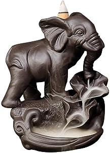 YYW Elephant Backflow Incense Holder Ceramic Incense Burner with 10PCS Backflow Incense Cones for Home Office Decor