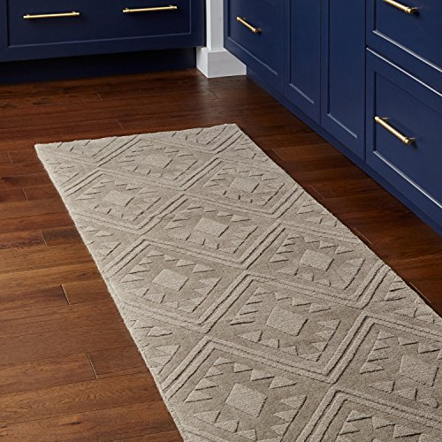 Stone & Beam Shooting Star Modern Diamond Pattern Wool Runner Rug, 2'6' x 8', Taupe
