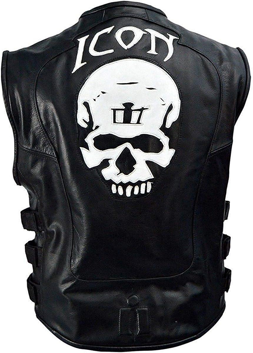Men's Icon Skull Logo Real Leather Vest For Bikers