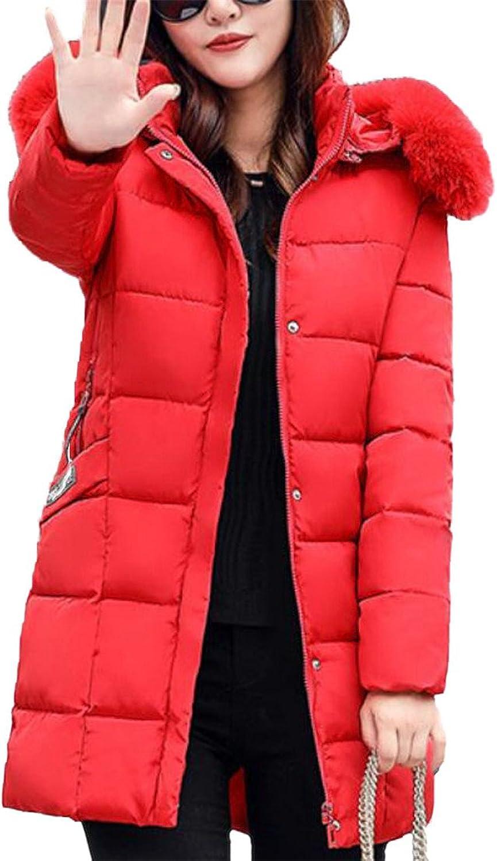 GAGA Women's Classic Zipper Solid color Faux Fur Hooded Down Coat
