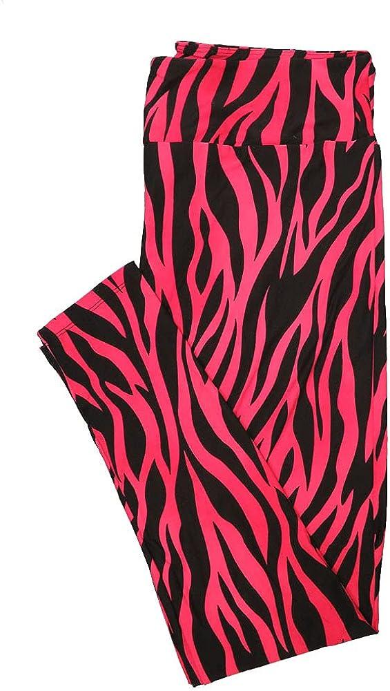 Lularoe One Size OS Zebra Print Pink Black Leggings (OS fits Adults 2-10)