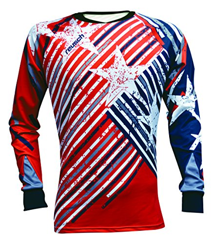 Reusch Soccer Patriot II Pro-Fit Long Sleeve Goalkeeper Jersey, Red/White/Blue, Youth Large