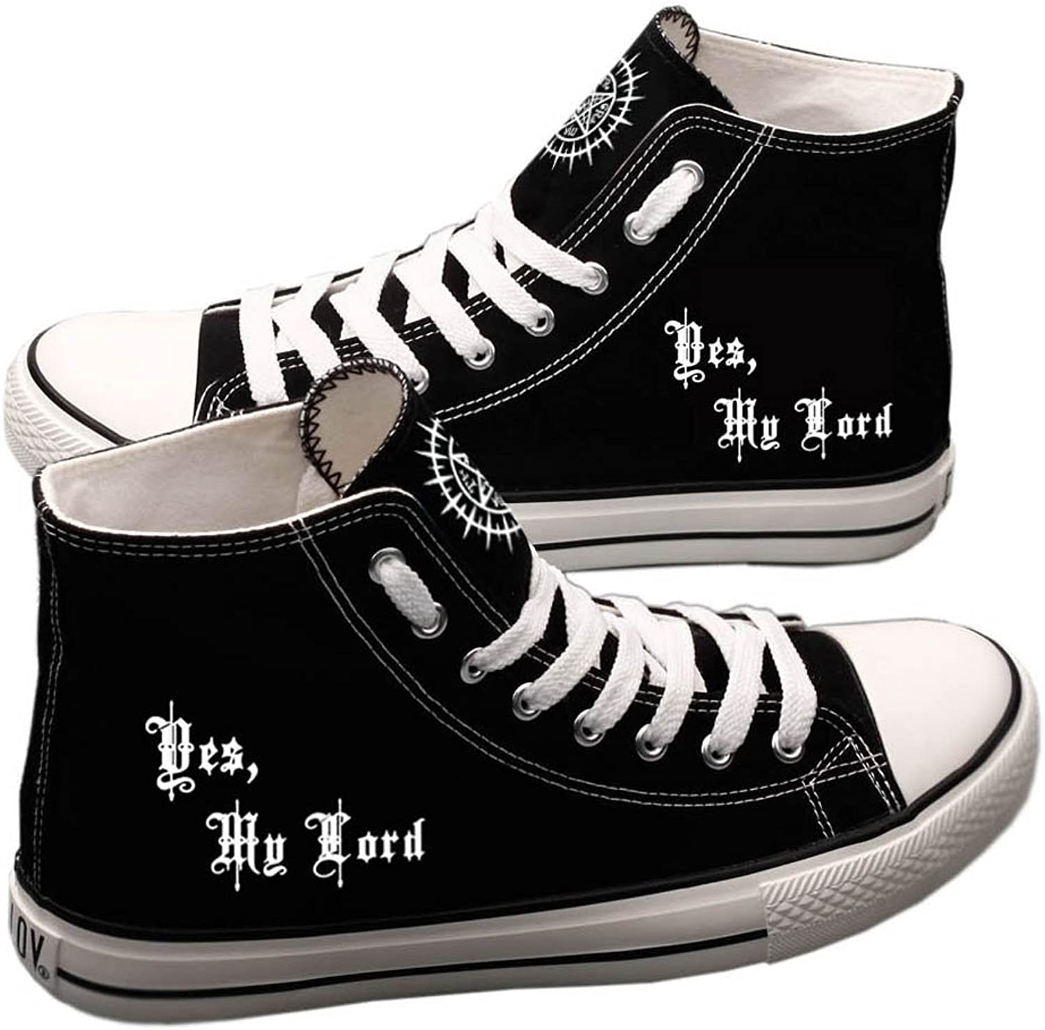 E_LOV Black Butler Kuroshitsuji Hand-Painted Canvas shoes High Top Sneakers Anime Logo Painted Cosplay shoes for Women and Men
