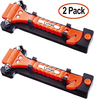 LOYMR 2 PCS Car Safety Hammer Auto Car Window Glass Hammer Breaker and Auto Safety Seatbelt Cutter 2-in-1 Rescue Disaster ...