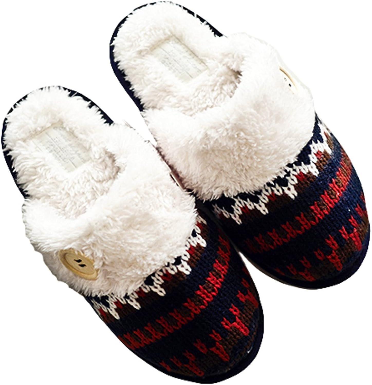 HALLUCI Women's Cozy Warm Scottish Stitch Memory Foam House Slippers