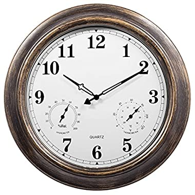 SkyNature 18 Inch Large Outdoor Wall Clock Waterproof with Temperature and Humidity (Update Version)