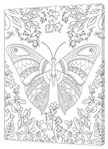 Pintcolor - 7160.0 - Cadre avec Toile imprimée à colorier, Bois de Sapin et Coton, Blanc/Noir, 40 x 50 x 3,5 cm