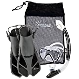 Seavenger Diving Dry Top Snorkel Set with Trek Fin, Single Lens Mask and Gear Bag, L/XL - Size 9 to 13, Gray/Black
