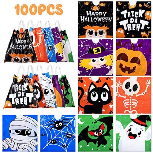 Unomor 100 PCS Halloween Treat Bags, Drawstring Halloween Candy Bags for Kids Trick or Treat Bags Plastic Goody Bags Halloween Party Favors