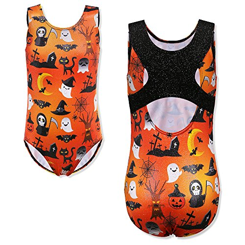 TFJH E Ballet Leotard Girls Gymnastics Apparel Practice Clothes Size 10-12 Orange Halloween 12A