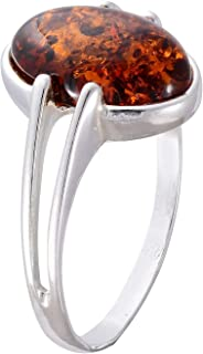 HolidayGiftShops Sterling Silver and Baltic Honey Amber Ring Federica