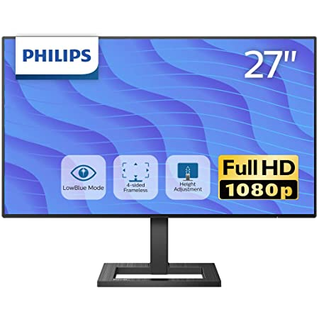 PHILIPS 液晶ディスプレイ PCモニター 272E2FE/11 (27インチ/5年保証/FHD/IPS/D-sub 15,HDMI,Display Port/高さ調整/チルト/4面フレームレス/FreeSync(HDMI,DP)/ちらつき防止/ブルーライト軽減)