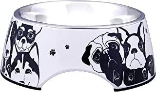 Goofy Tails Stainless Steel and Melamine Designer Dog Bowls for Dogs or Cats |Anti-Slip Resistant Rubber Base |Anti Rust &...