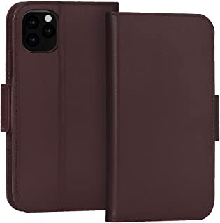 """FYY Case for iPhone 11 Pro Max 6.5"""", Luxury [Cowhide Genuine Leather][RFID Blocking] Wallet Case, Handmade Flip Folio Case with [Kickstand Function] and[Card Slots] for iPhone 11 Pro Max 6.5"""" Brown"""