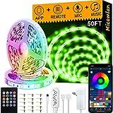 Micomlan 50ft/15M Led Strip Lights,Music Sync Color Changing RGB LED Strip...