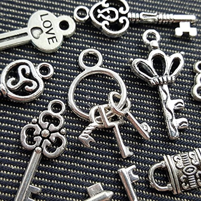 10pcs Mixed Tibetan Silver Tone Key Lock Love Charm Fashion Pendants Jewelry Diy Jewelry Making Handmade (NS553 M031)