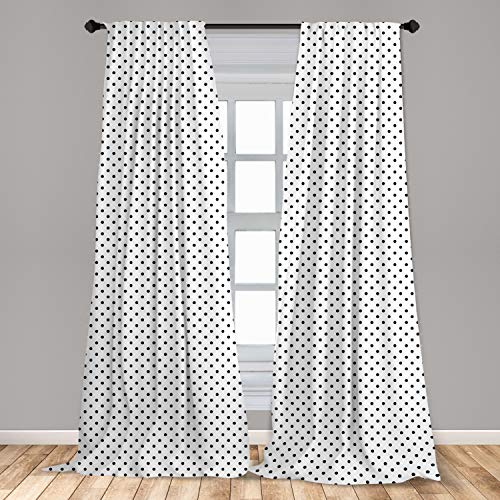 """Lunarable Polka Dot Curtains, Classic Composition of Black Droplets Traditional Ornate Polka Dots Pattern, Window Treatments 2 Panel Set for Living Room Bedroom Decor, 56"""" x 84"""", White and Black"""