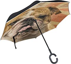 XiangHeFu Double Layer Inverted Reverse Umbrellas an English Bulldog Panting Folding Windproof UV Protection Big Straight for Car with C-Shaped Handle
