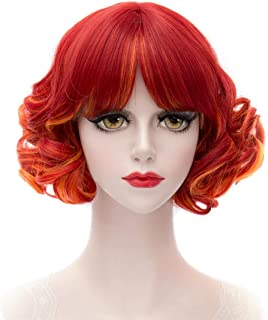 Girls Short Curly Wig Red, MQ Color Wavy Short Wigs for Women 12 Inches Lolita Cosplay Halloween Costume Party Wig Fluffy Synthetic Charming Heat Resistant Ombre Wigs (Red)