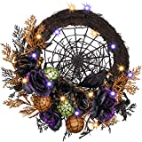 Valery Madelyn 24 Inch Pre-Lit Happy Halloween Wreath for Front Door with Naughty Treat-or-Trick Artificial Rose, Halloween Lights and Crow Decorations(Black and Orange)